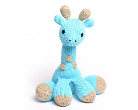 Mel The Blue Hand Knit Giraffe