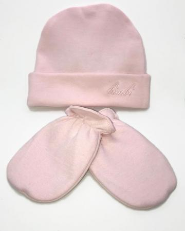 Logo Beanie and Mittens Set - Pink